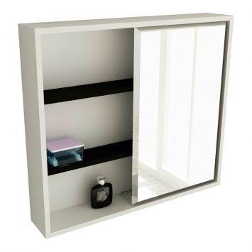 Espelheira de Banheiro 22 Quadrada 60 cm Branco & Preto Tomdo Espelheira 22 PT 60