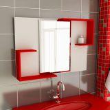 Espelheira de Banheiro Retangular 80 cm Branco & Vermelho