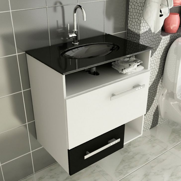 Gabinete para Banheiro Itatiaia Brisa 1 Porta 1 Gaveta  Armários e Gabinetes -> Armario De Banheiro Brisa