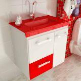 Gabinete Vetro 60 cm 2 Portas 1 Gaveta Branco & Vermelho