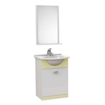 Kit De Banheiro 3 Peças Pratico Com Pia De Mármore 40 cm Biscuit Tomdo Kit Completo Modelo Kit Pratico 40cm p Banheiro com 3 pcs ( Gabinete + Pia de Marmore Sintético + Espelho )
