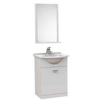 Kit De Banheiro 3 Peças Pratico Com Pia De Mármore 40 cm Branco Tomdo Kit Completo Modelo Kit Pratico 40cm p Banheiro com 3 pcs ( Gabinete + Pia de Marmore Sintético + Espelho )