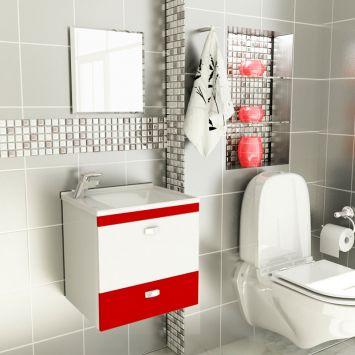 Kit De Banheiro 3 Peças Stylus Com Pia De Mármore 50 cm Vermelho Tomdo Kit Completo Modelo Kit Stylus 50cm p Banheiro com 3 pcs ( Gabinete + Pia de Marmore Sintético + Espelho )