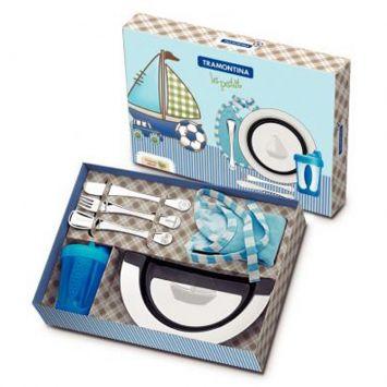 Jogo para Crianca Barquinho Le Petit Inox e Azul 6 pçs Tramontina Barquinho Le Petit