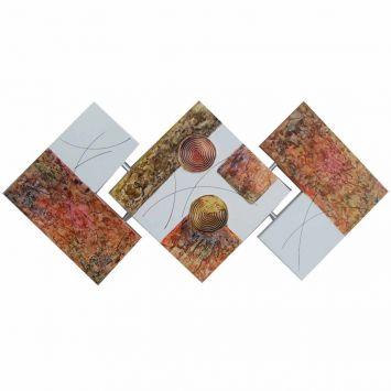 Quadro Artesanal Abstrato Losango 65x125cm Verde Uniart Uniart Quadro Artesanal Losango