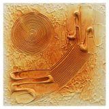 Quadro Artesanal com Textura Abstrato Amarelo 30x30cm Uniart