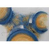 Quadro Artesanal com Textura Abstrato Azul 70x100 Uniart