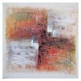 Quadro Artesanal com Textura Abstrato I Colorido 30x30cm Uniart