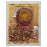 Quadro Artesanal com Textura Abstrato I Marrom 40x50cm Uniart