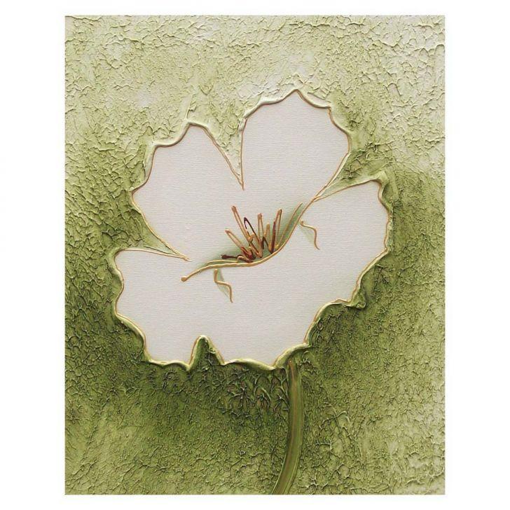 Artesanato Minas Gerais ~ Quadro Artesanal com Textura Hibisco Verde 40x50cm Uniart