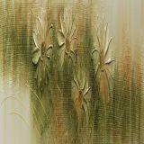 Quadro Artesanal com Textura Margarida Verde 30x130 Uniart