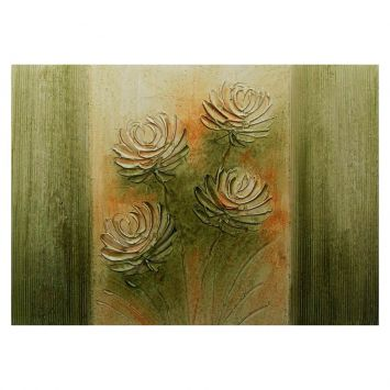 Quadro Artesanal com Textura Margarida Verde 70x100 Uniart Uniart Margarida