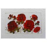 Quadro Artesanal com Textura Rosas Vermelho 70x100 Uniart
