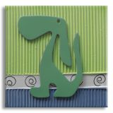 Quadro Cachorro Uniart Verde 30x30cm