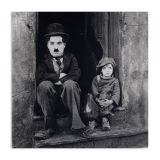 Quadro Charlie Chaplin Menino Uniart Preto & Branco 45x45cm
