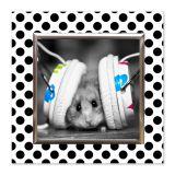 Quadro Hamster Uniart Preto & Branco 45x45cm