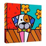 Quadro Impressão Digital Cachorro Pop-Art Colorido 30x30cm Uniart