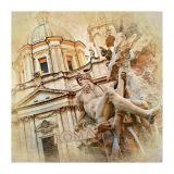Quadro Impressão Digital Roma 45x45