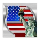 Quadro Nova York Bandeira Uniart Vermelho & Azul 45x45cm