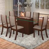 Conjunto Mesa Facily Com 6 Cadeiras Kiara Choco E Canela