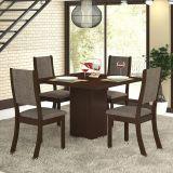 Conjunto Mesa Gabi E 4 Cadeiras Kiara Choco E Canela