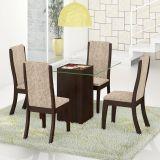 Conjunto Mesa Gretta E 4 Cadeiras Click Choco E Juta