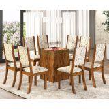 Conjunto Mesa Mobly Com 8 Cadeiras Kiara Avelã E Amêndoa