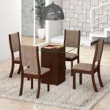Conjunto Mesa Play Com 4 Cadeiras Kiara Choco E Canela