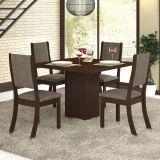 Conjunto para Sala de Jantar -  Alpha K Mesa e 4 Cadeiras - Chocolate/Capuccino - Viero