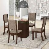 Conjunto para Sala de Jantar -  Atena K Mesa e 4 Cadeiras - Chocolate/Capuccino - Viero