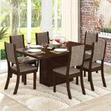 Conjunto para Sala de Jantar -  Lady K Mesa e 6 Cadeiras - Chocolate/Capuccino - Viero