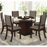 Conjunto para Sala de Jantar -  Laleska K Mesa e 6 Cadeiras - Chocolate/Capuccino - Viero