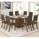 Conjunto para Sala de Jantar -  Savana K Mesa e 8 Cadeiras - Avelã/Rústico - Viero