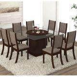Conjunto para Sala de Jantar -  Savana K Mesa e 8 Cadeiras - Chocolate/Capuccino - Viero