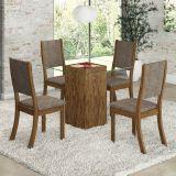 Conjunto para Sala de Jantar Atena K Mesa e 4 Cadeiras -  Avelã/Capuccino - Viero