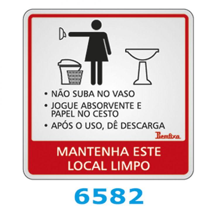 Placa Autoadesiva Alumínio 15x15cm Instruções Banheiro Feminino Viva Bricola -> Aviso Banheiro Feminino Absorvente