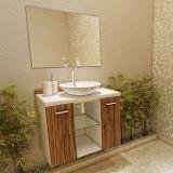 Gabinete com espelho e cuba Terra Branco e Nogal Dakar Vtec