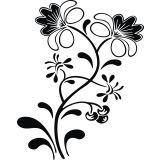 Adesivo de Parede Floral  X4 Adesivos Preto
