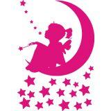 Adesivo de Parede Infantil X4 Adesivos Fadinha na Lua Uma Cor  QI83 P