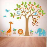 Adesivo de Parede Infantil X4 Adesivos Floresta Colorido  QI149 G