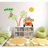 Adesivo de Parede Infantil X4 Adesivos Safari 4 Colorido  QI120 G