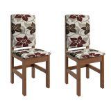 Conjunto 2 Cadeiras Estofada 2012 Tabaco Com Floral