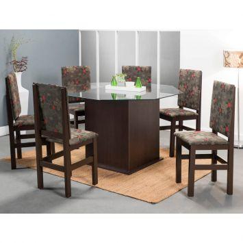 Conjunto de Mesa com 6 Cadeiras 119 / 2012 Com Tampo Vidro Oitavado Tabaco Floral Escuro Zamarchi 119 / 2012