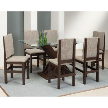 Conjuto de Mesa com 6 Cadeiras de Jantar com Vidro 2012 / 114 Tabaco e Bege Zamarchi 2012 / 114