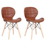 Conjunto 2 Cadeiras Tulipa Estofada Marrom pé aramado