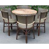 Conjunto De 4 Cadeiras E 1 Mesa Marrom E Bege