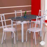 Conjunto Mesa Genova e 4 Cadeiras Lisboa Branco & Caramelo List