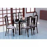 Conjunto Mesa Granada e 6 Cadeiras Granada Preto & Branco Flor