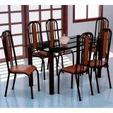 Conjunto Mesa Granada e 6 Cadeiras Granada Preto & Madeirado