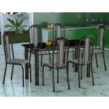 Conjunto Mesa Granada e 6 Cadeiras Granada Preto & Preto Listr